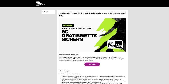 Einmal in der Woche eine 5 Euro Gratiswette bei MoPlay sichern