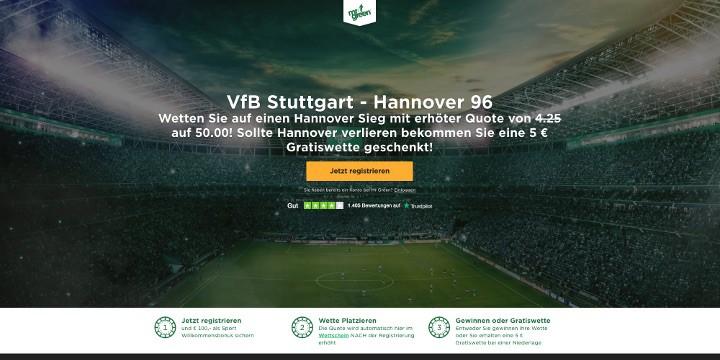 Auf den Sieg von Stuttgart gegen Hannover mit Top Quote 50 wetten