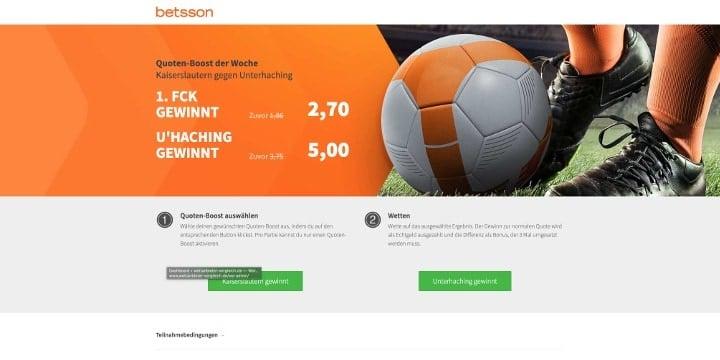Auf die Partie Kaiserslautern gegen Unterhaching mit Top Quoten wetten