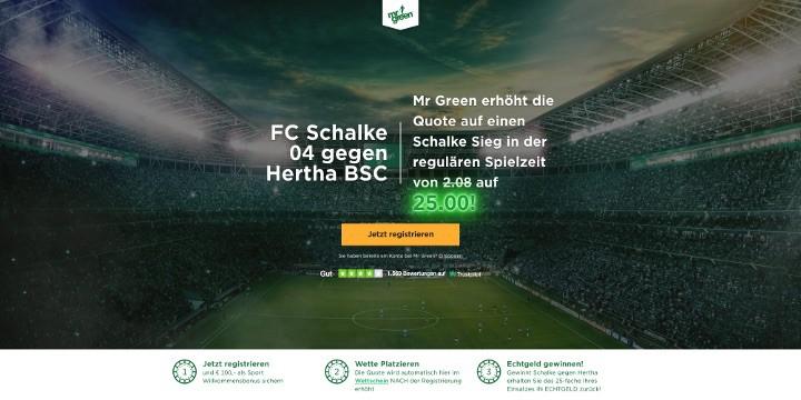 Auf den Sieg von Schalke gegen Hertha mit der Top Quote von 25 wetten