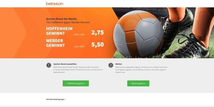 Auf Hoffenheim gegen Weder Bremen mit gesteigerten Quoten wetten