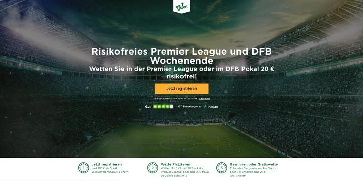 Eine risikofreie 20€ Wette beim Wettanbieter Mr Green sichern