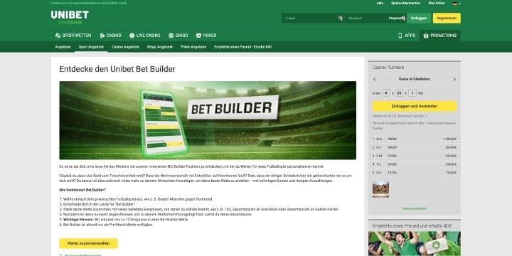 Teste jetzt den neuen Bet Builder des Wettanbieters Unibet