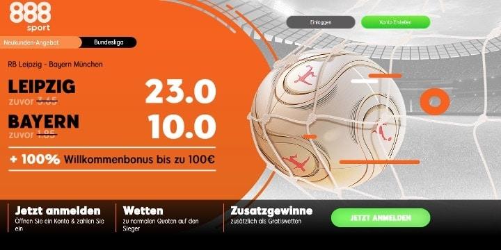 Bei 888Sport auf den Sieg von Leipzig oder Bayern mit Top Quoten wetten