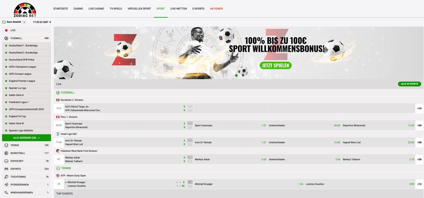 Zodiac Bet Sportwetten